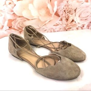 Np Nordstrom taupe flats Ballerina lace up sz 9.5
